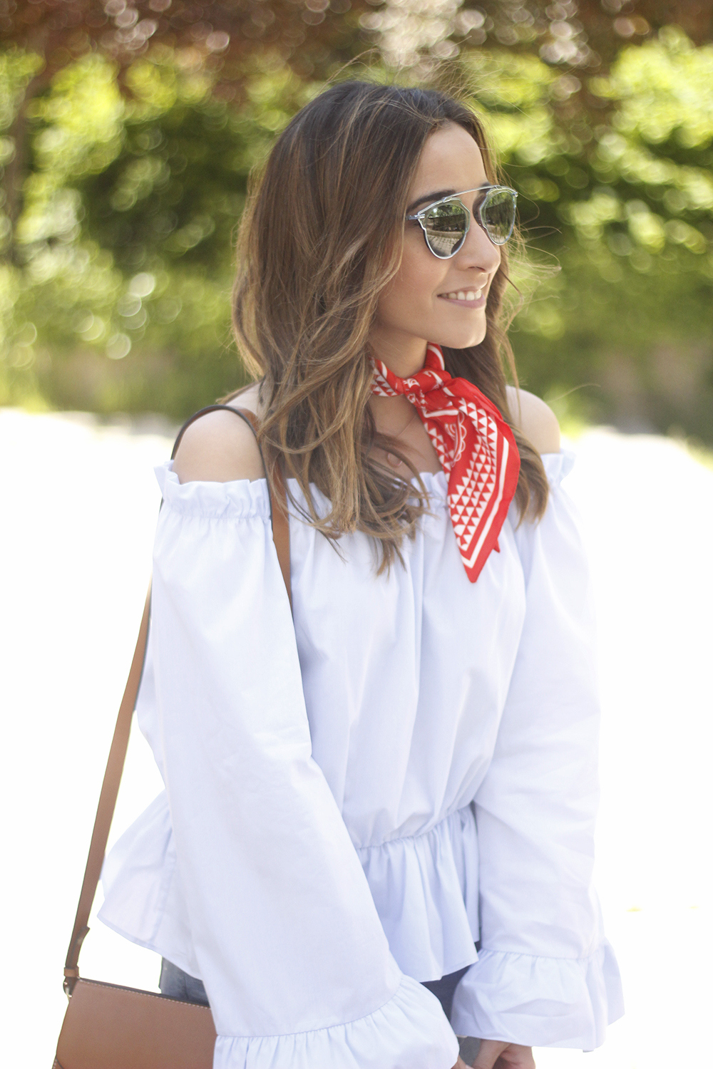 off the shoulders top with bell sleeves red bandana nude heels dior sunglasses spring outfit15