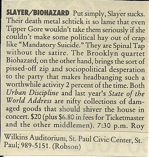 02/04/95 Slayer/ Biohazard/ Machine Head @ Roy Wilikins Auditorium, St. Paul, MN (A-List)