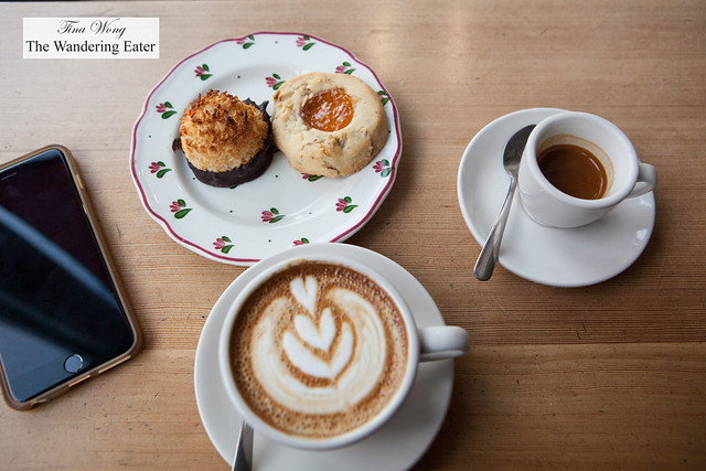Streamline espresso (doppio), Cappuccino, chocolate dipped coconut macaroon and apricot thumbprint cookie