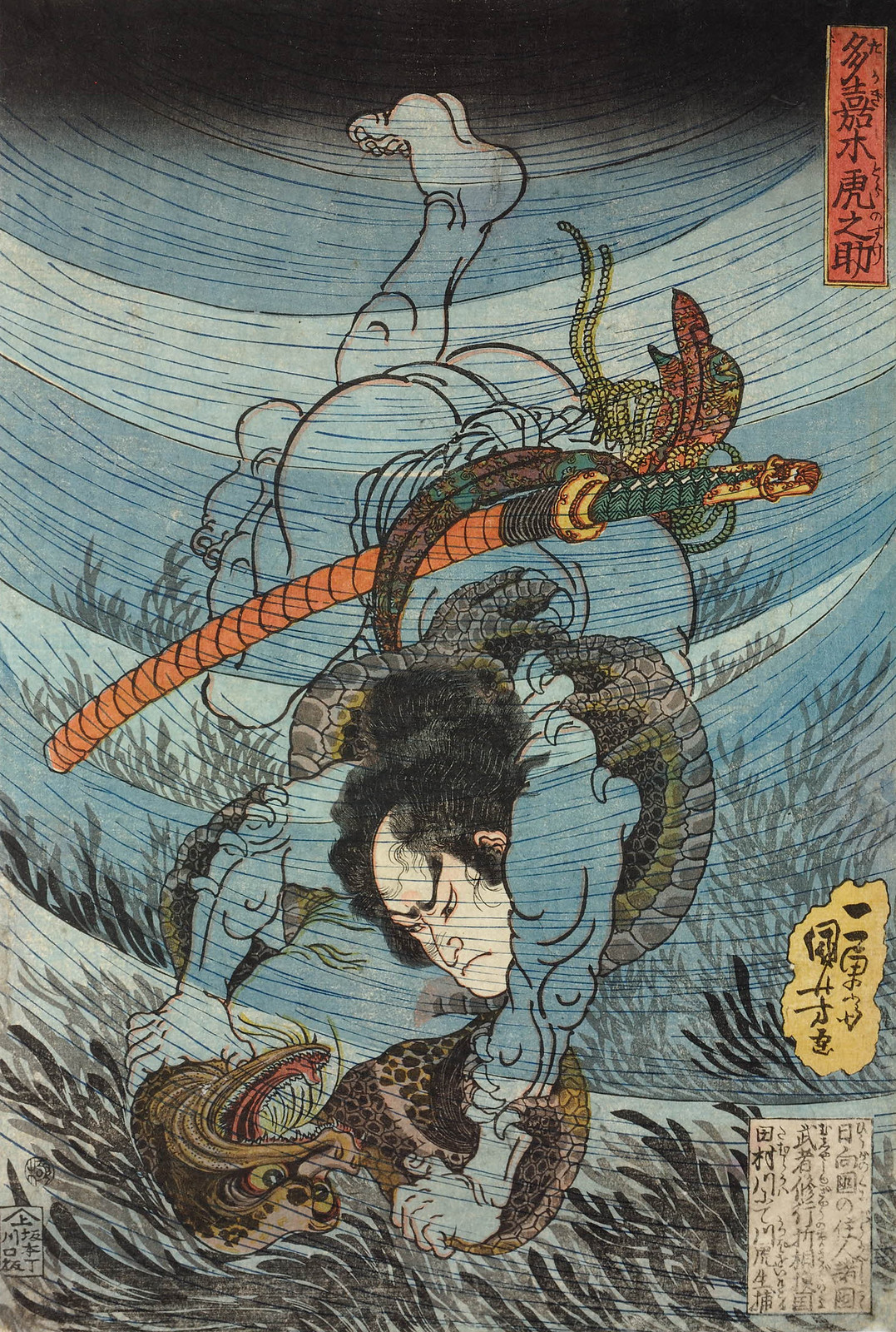 Utagawa Kuniyoshi - Takagi Toranosuke capturing a kappa under the water in the Tamura river in the province of Sagami. Edo Period