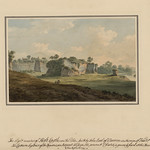 The Slight Remains of Holt Castle on the Dee by John Warwick Smith, 1784. Note the remains of the water tower by the river Dee. The drawing also reveals the quarry cliffs above the original moat. © The National Library of Wales, Aberystwyth