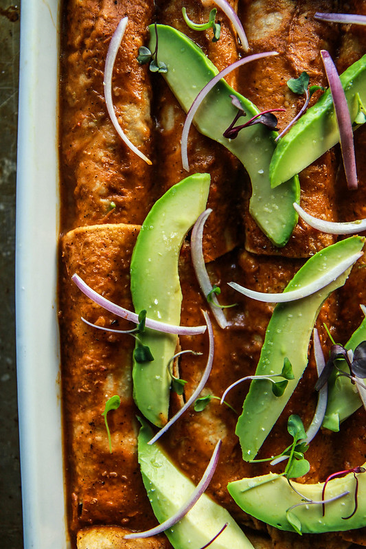 Smoky Spiced Pork and Almond Ricotta Enchiladas