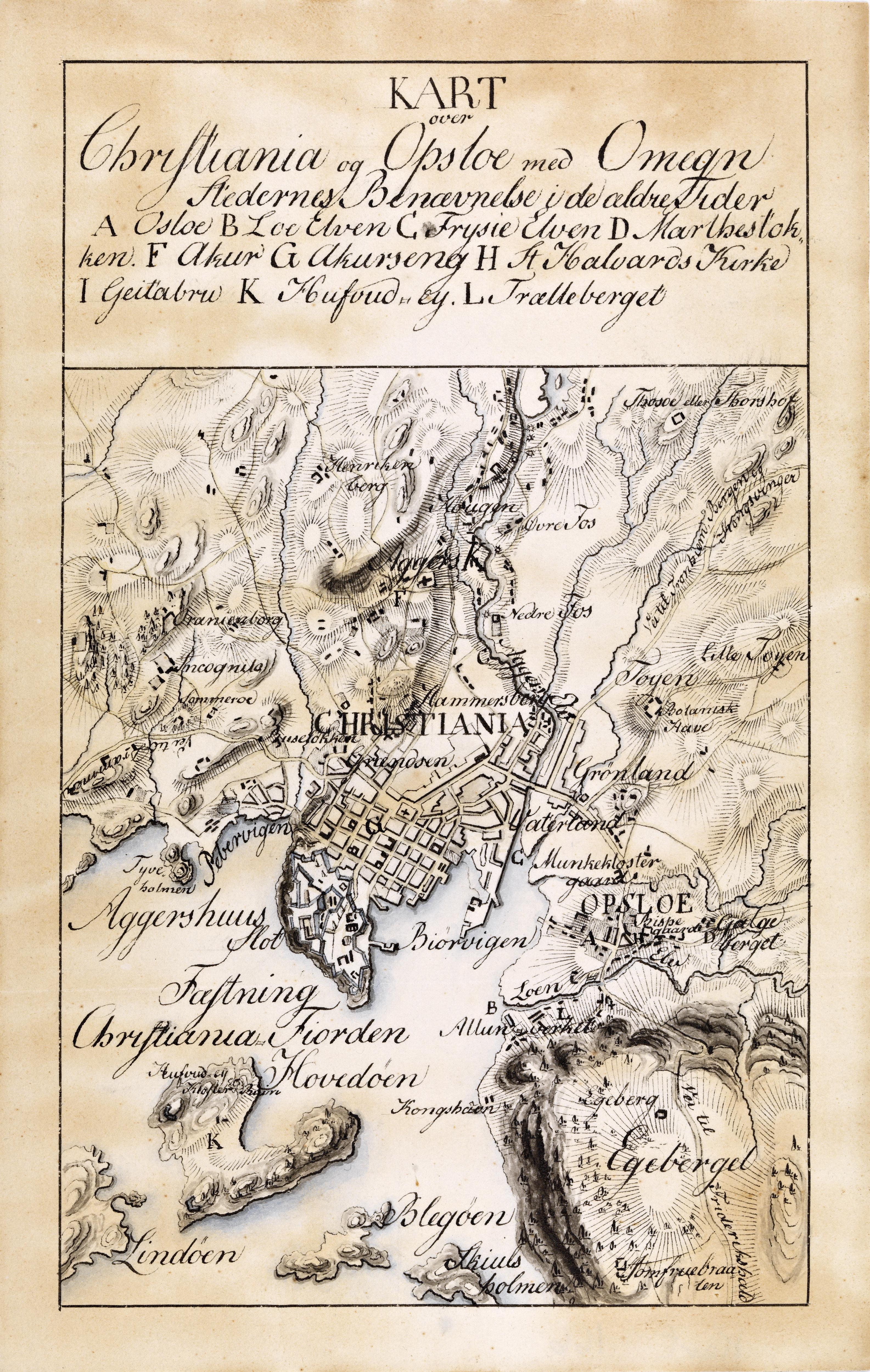 Håndtegnet kart over Christiania med omegn