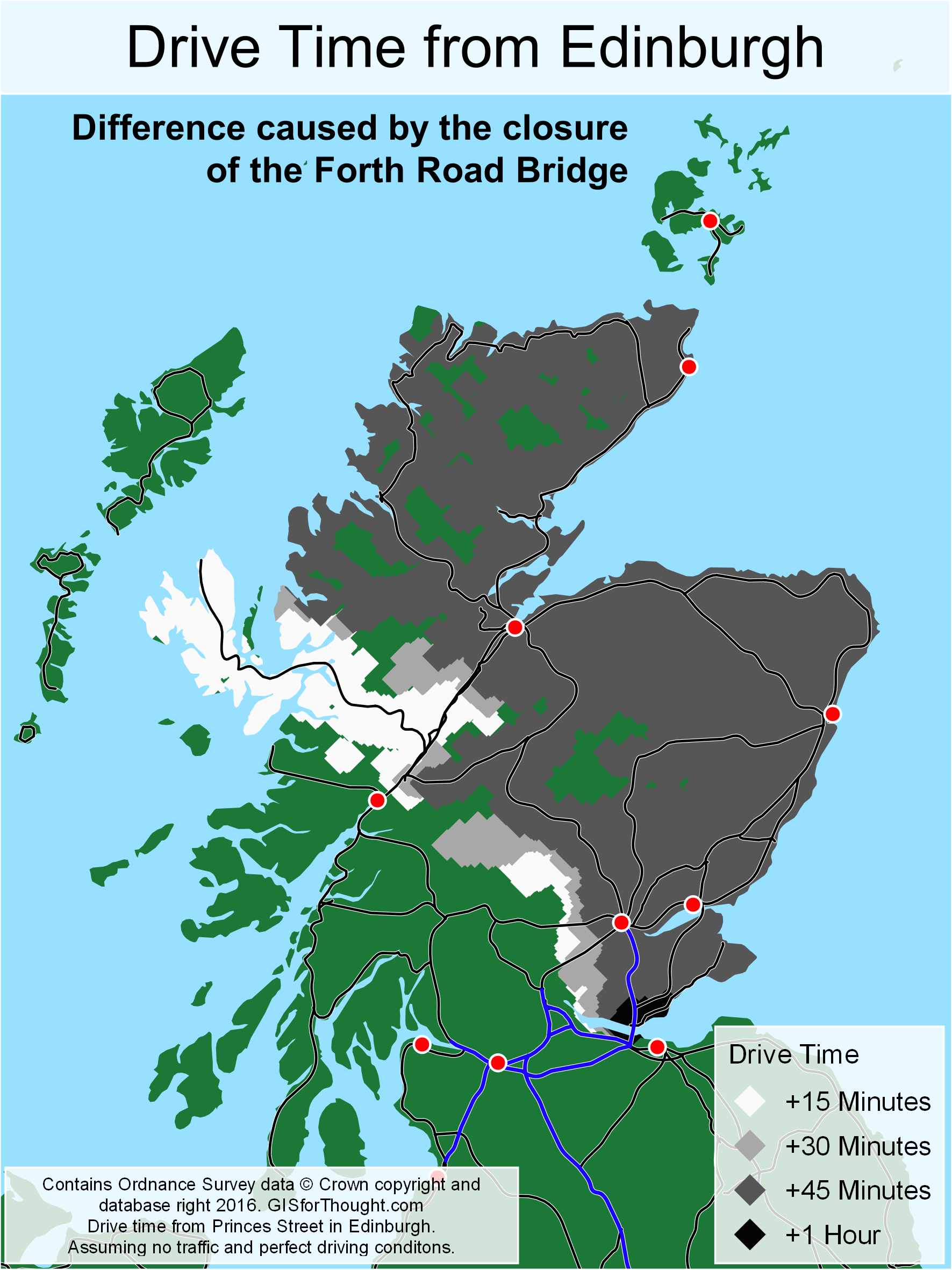 Difference the forth road bridge closue caused map