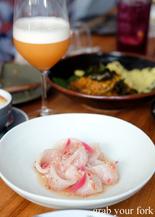 Raw kingfish with torch ginger flower at Lazy Suzie, Darlinghurst