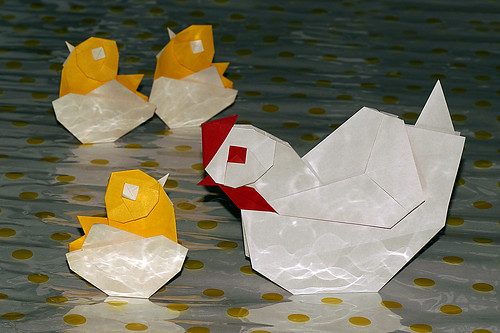 """Origami Chicken"" and ""Origami Chick in the egg"" (Taichiro Hasegawa)"