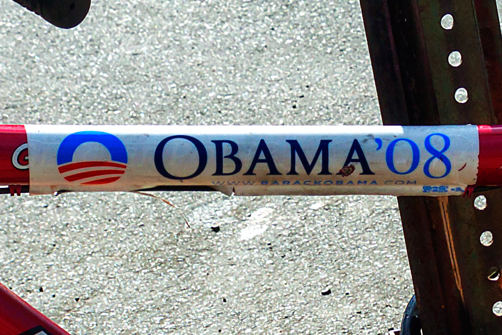 Obama bumper sticker on bike--Center City (detail)