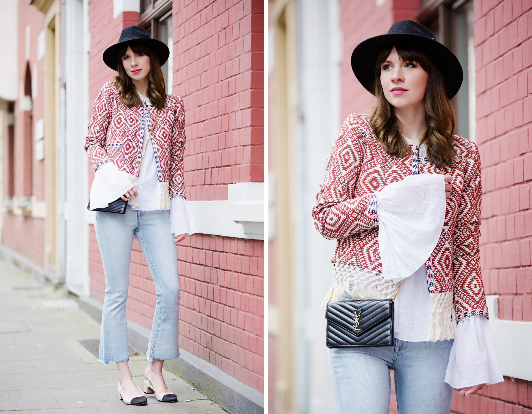 ootd outfit styling lookbook red hippie boho jacket shopbop saint laurent paris ysl bag flared jeans chanel slingback festival style cool girl bangs parisienne fashionblogger cats & dogs ricarda schernus blog 2