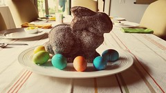 Retro Easter bunny cake with appropriate filter.   Made with a recipe from mid century menu.