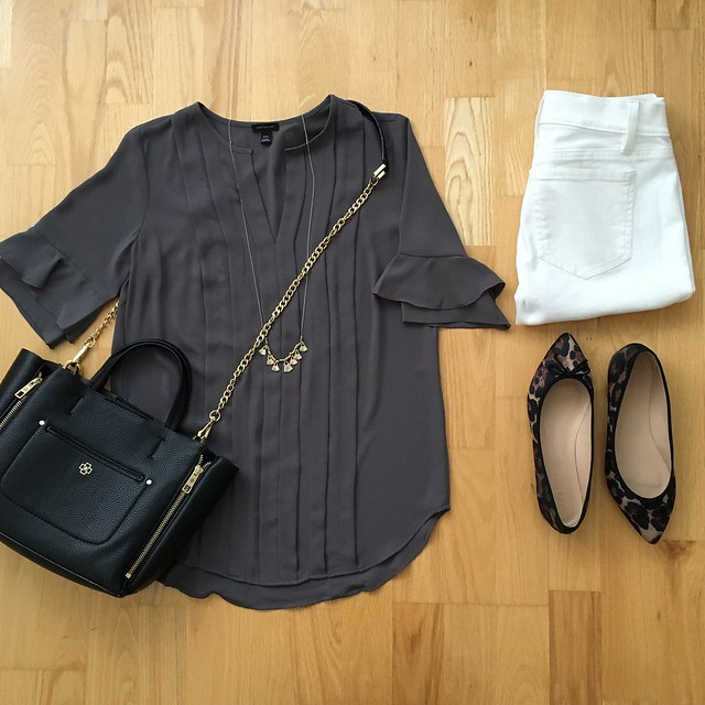 Ann Taylor Ruffle Sleeve Pintuck Tee Outfit