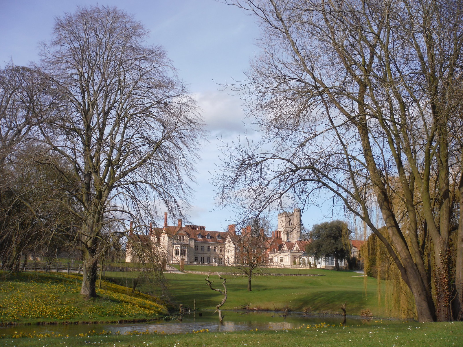 Dinton Hall, from footpath to the SE SWC Walk 193 Haddenham to Aylesbury (via Gibraltar and Ford)