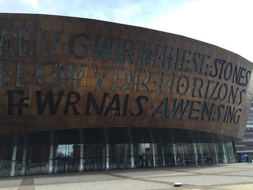Detail of Cardiff Millennium center, outside