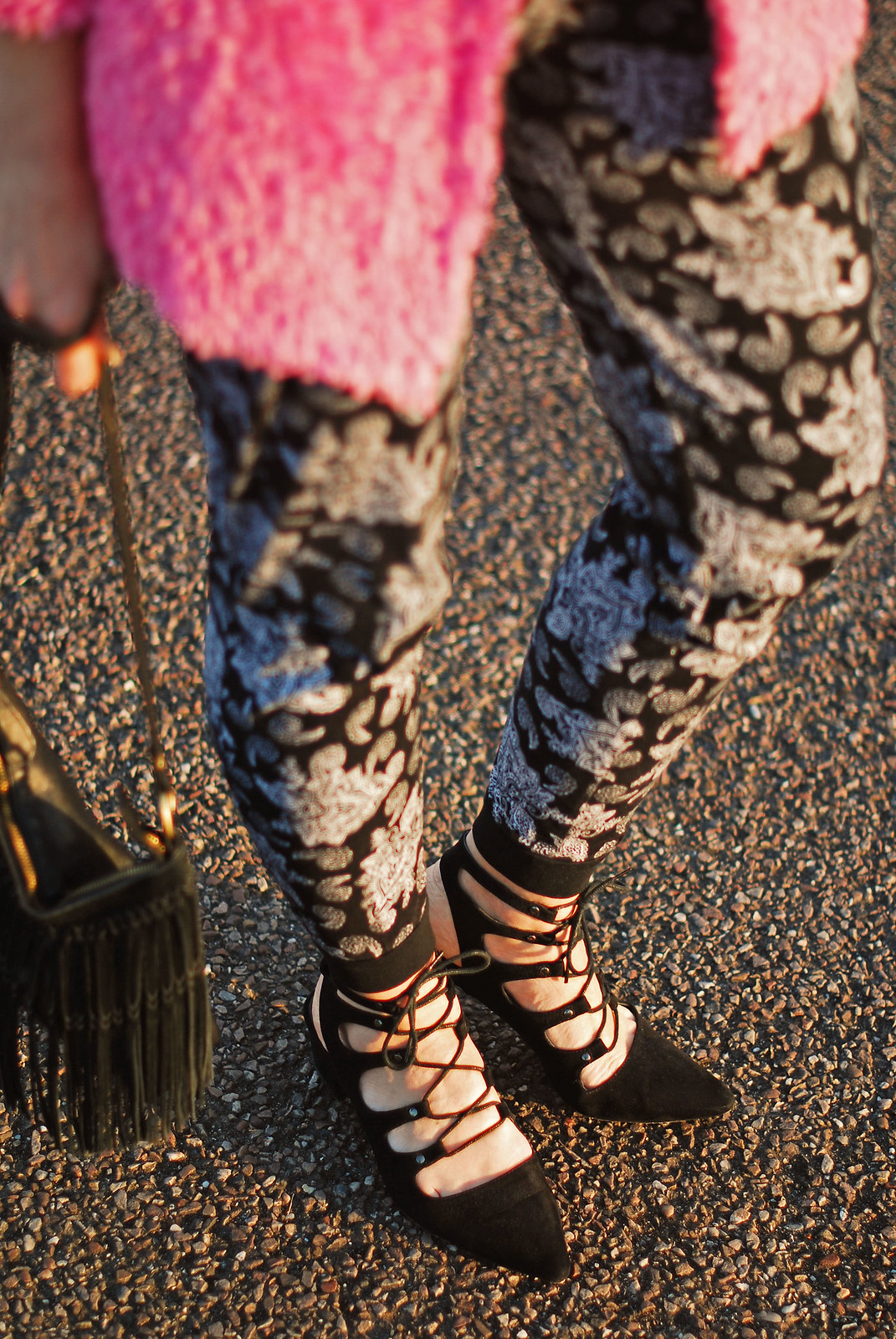 Spring style: Fluffy pink cardigan, paisley joggers, black lace up pointed flats