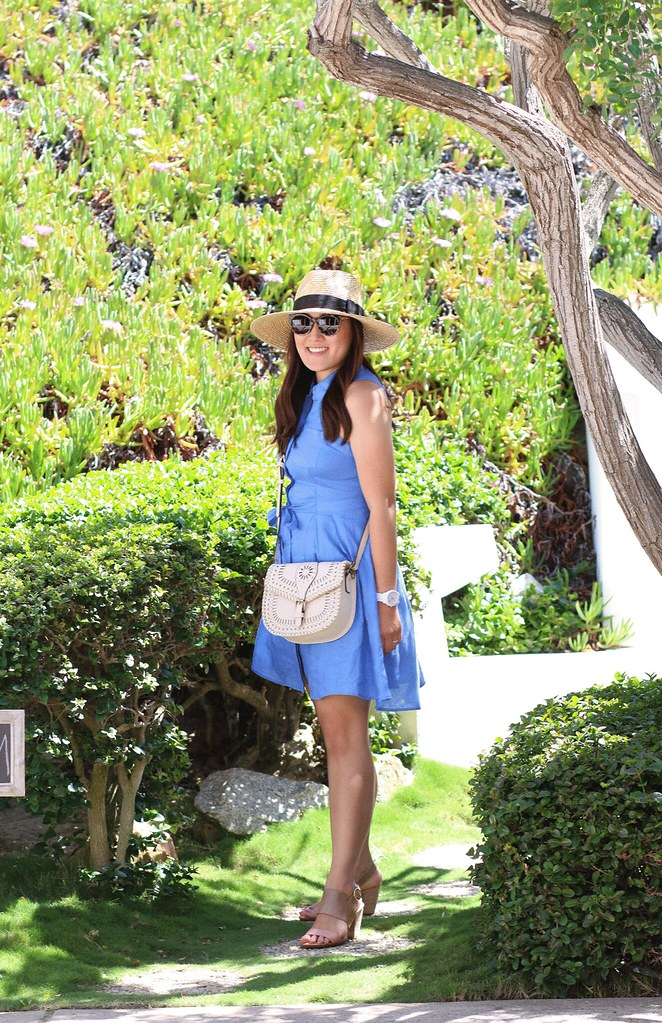 simplyxclassic, miriam gin, anthropologie dress, blue linen dress, spring summer dress, sole society bag, blogger, fashion, orange county, zappos.com, born shoes, summer sandals, comfortable, comfort shoes