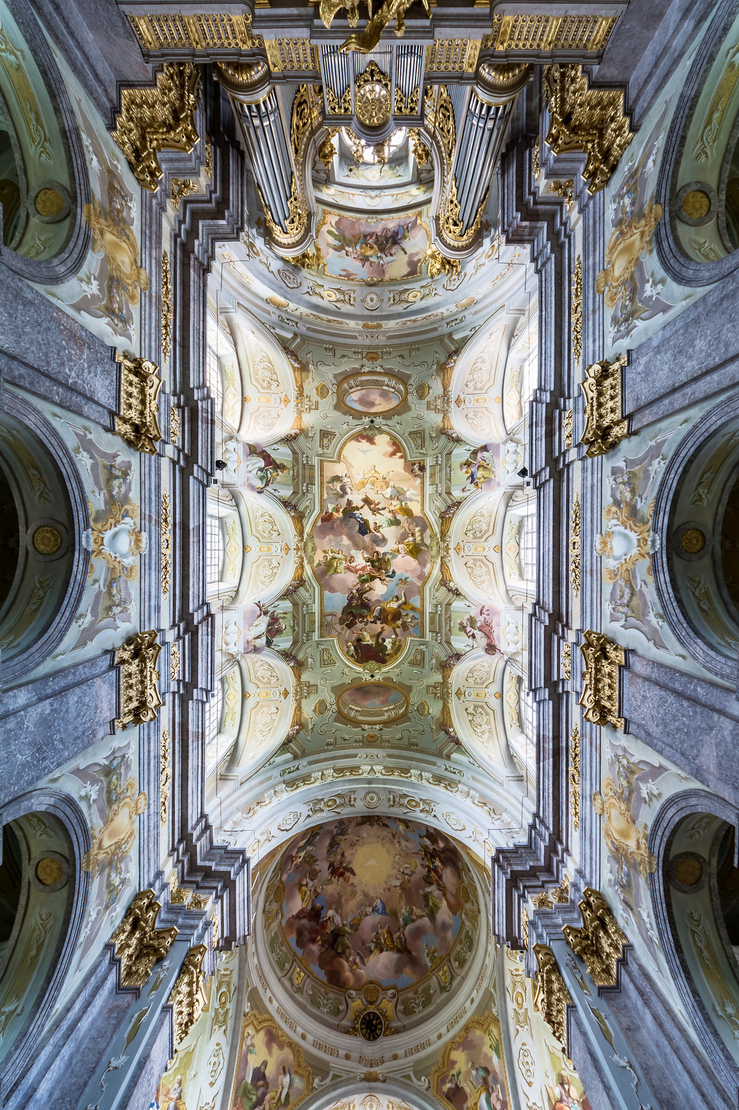 Ceiling frescos in the nave and the dome of Sonntagberg Basilica (Lower Austria) by Daniel Gran (1738–43). Credit Uoaei1