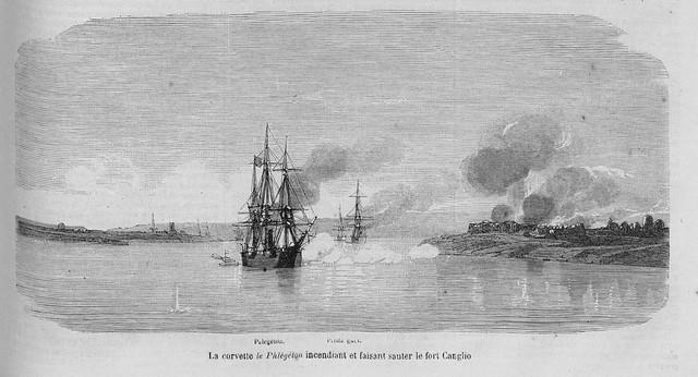 La corvette le Phlégéton incendiant et faisant sauter le fort Canglio - Hộ tống hạm Phlégéton bắn phá đồn Cần Giờ Tháng 2/1959