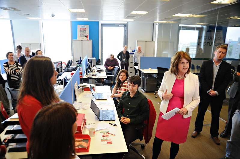 The Tánaiste Joan Burton talking to staff in our HQ about the coming weeks and #GE16