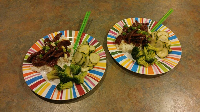 Pressure cooker Mongolian beef, cucumber salad, broccoli with a bit of Ponzu