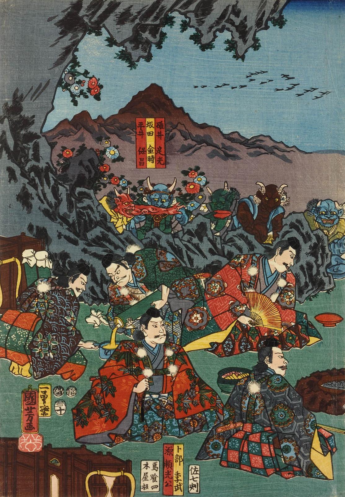 Utagawa Kuniyoshi - Raiko and his retainers entertaining the Shuten-doji and his demons with sake and dancing, 1853 (left panel)