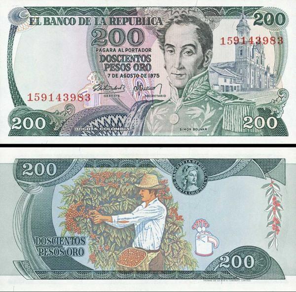200 Pesos Oro Kolumbia 1975, P417b UNC