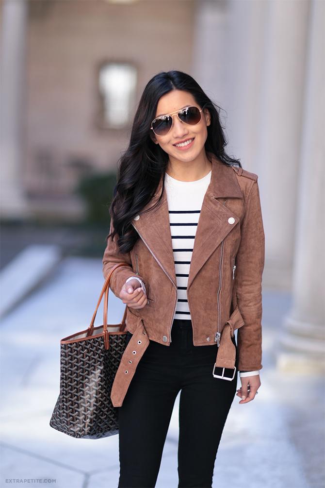 brown leather moto jacket goyard tote spring outfit boston