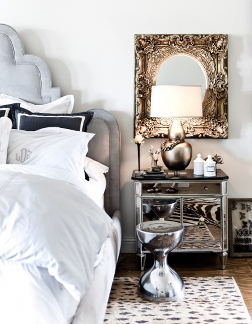 Mixed Metal Home Decor | Bedroom Decorating Inspiration | Mirrored Night Table