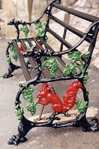 A cast-iron squirrel bench at the Morecambe railway station in England