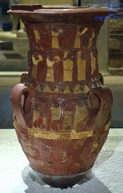 The İnandık vase, a Hittite four-handled large terracota vase with scenes in relief depicting a sacred wedding ceremony, mid 17th century, found in İnandıktepe, Museum of Anatolian Civilizations, Ankara