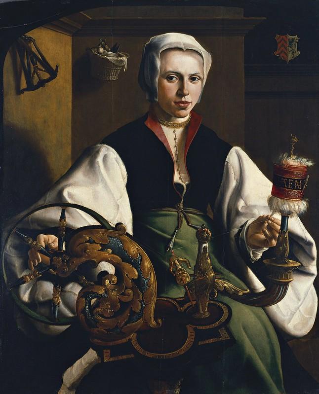 Maerten van Heemskerck - Portrait of a Lady spinning (c.1531)