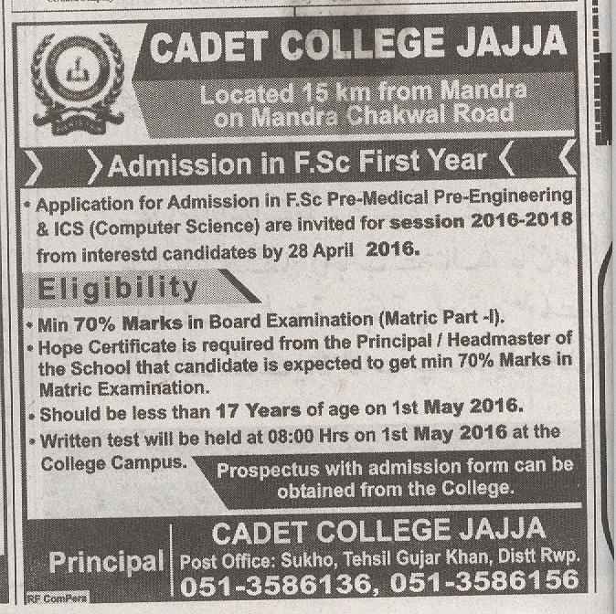 CADET COLLEGE JAJJA ADMISSION 2016
