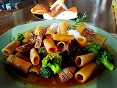 Rigatoni with Australian beef tenderloin, broccoli…