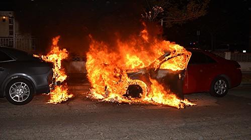 Car Bursts into Flames Following San Fernando Collision