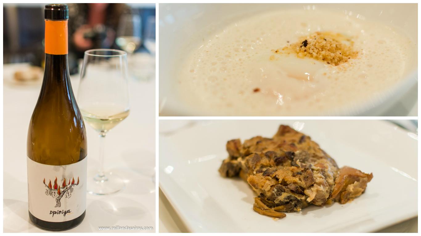 Vino Dpiega blanco, huevo ecológico con boletus y pastel de hojaldre de setas