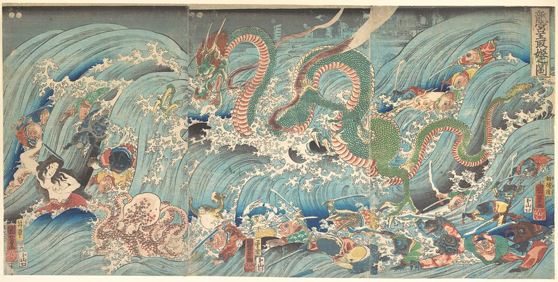 Utagawa Kuniyoshi - Recovering the Stolen Jewel from the Palace of the Dragon King 1853