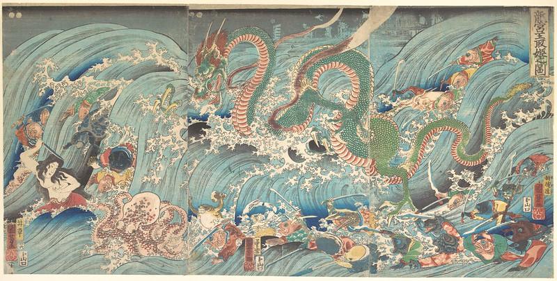 Utagawa Kuniyoshi - Recovering the Stolen Jewel from the Palace of the Dragon King 1853