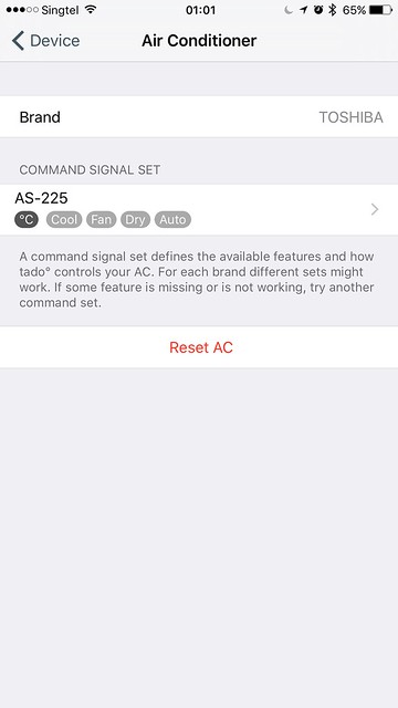 tado iOS App - Settings - Device - Air Conditioner