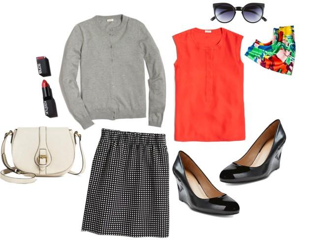 What I Wish I Wore - Orange You Glad; Style On Target; J.Crew polka dot skirt