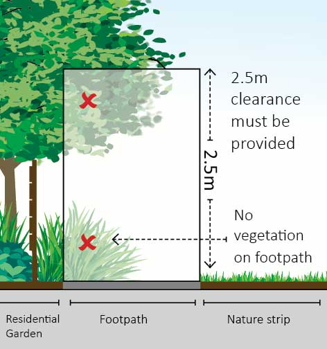 City of Monash: footpath overhanging vegetation rules