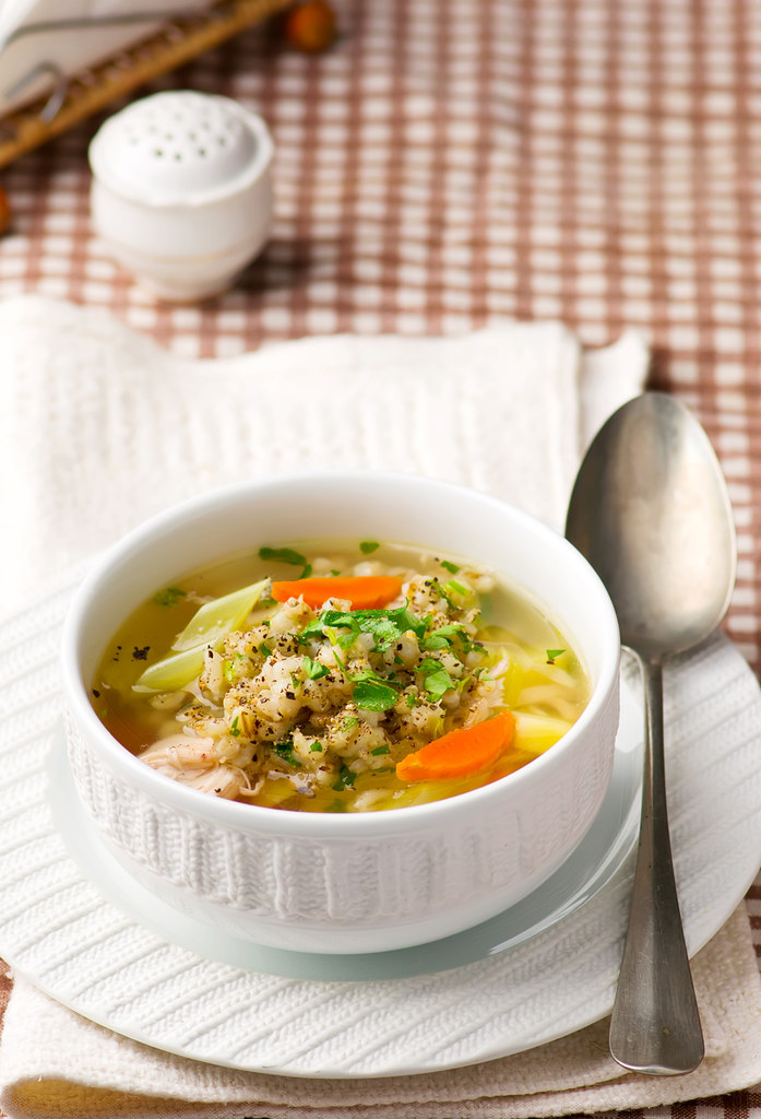 chicken soup with barley groat