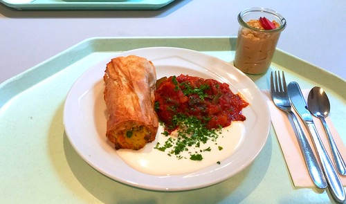 Vegetable strudel with ratatouille & yoghurt dip / Gemüsestrudel mit Ratatouille & Joghurtdip