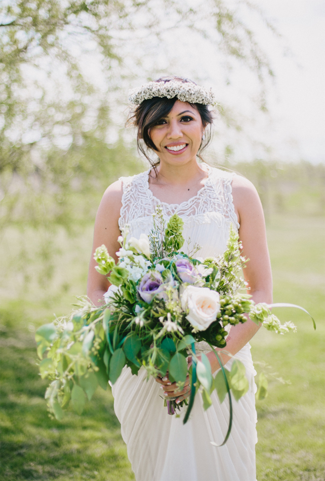 Pretty bridal floral crown for Garden Chic wedding in Ontario The bride wears #BHLDN wedding dress | Photography: Fern Shin Photography | Read more on Fab Mood - UK wedding Blog #floralcrown