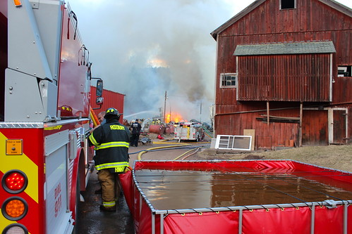 Hubbell Farm pole barn fire, March 9, 2016