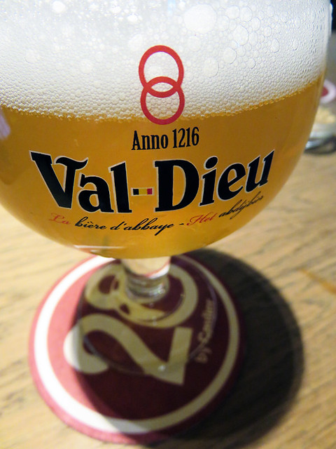 Enjoying a 'Val Dieu' beer in the Moeder Lambic Pub in Brussels, Belgium