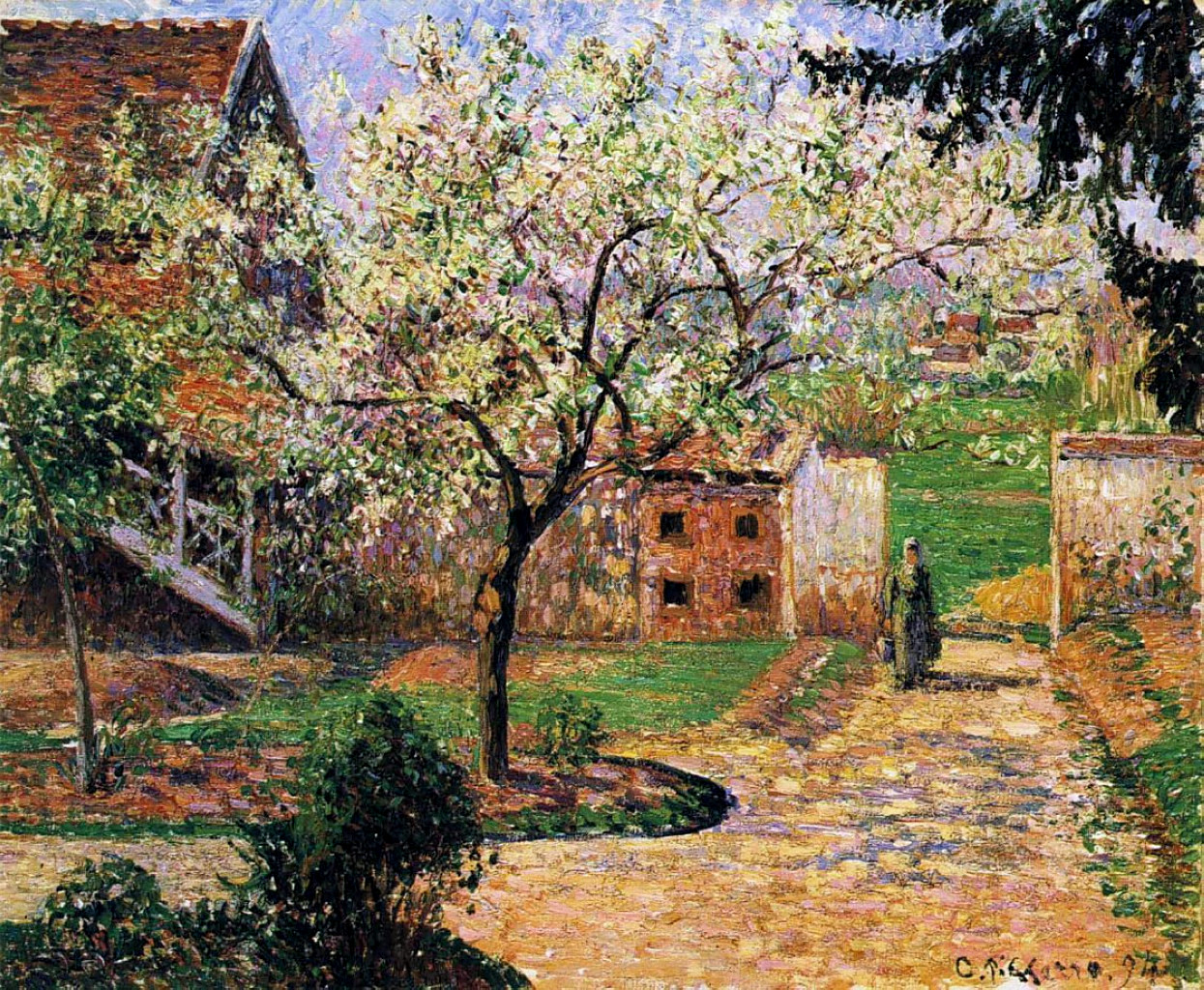 Flowering Plum Tree, Eragny by Camille Pissarro, 1894