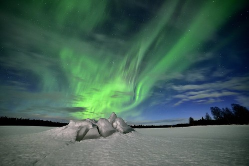 Aurora borealis erupting from the ice