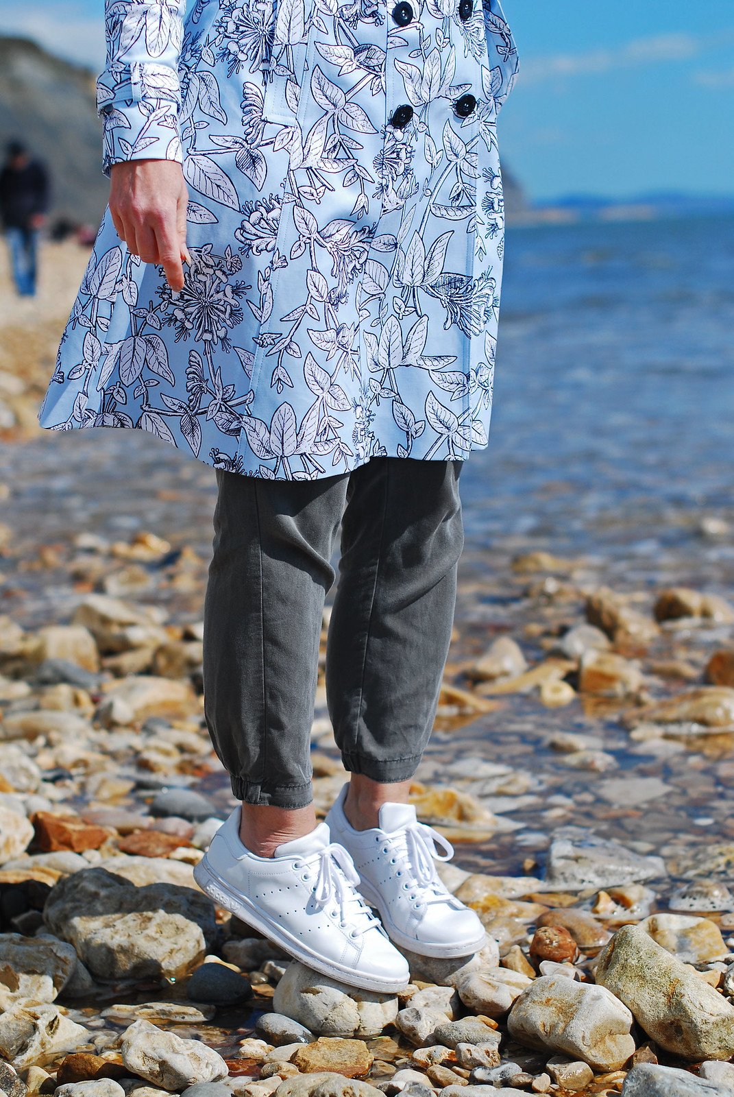 Spring style: Blue floral honeysuckle trench coat, khaki track pants, white Stan Smith Adidas | Not Dressed As Lamb