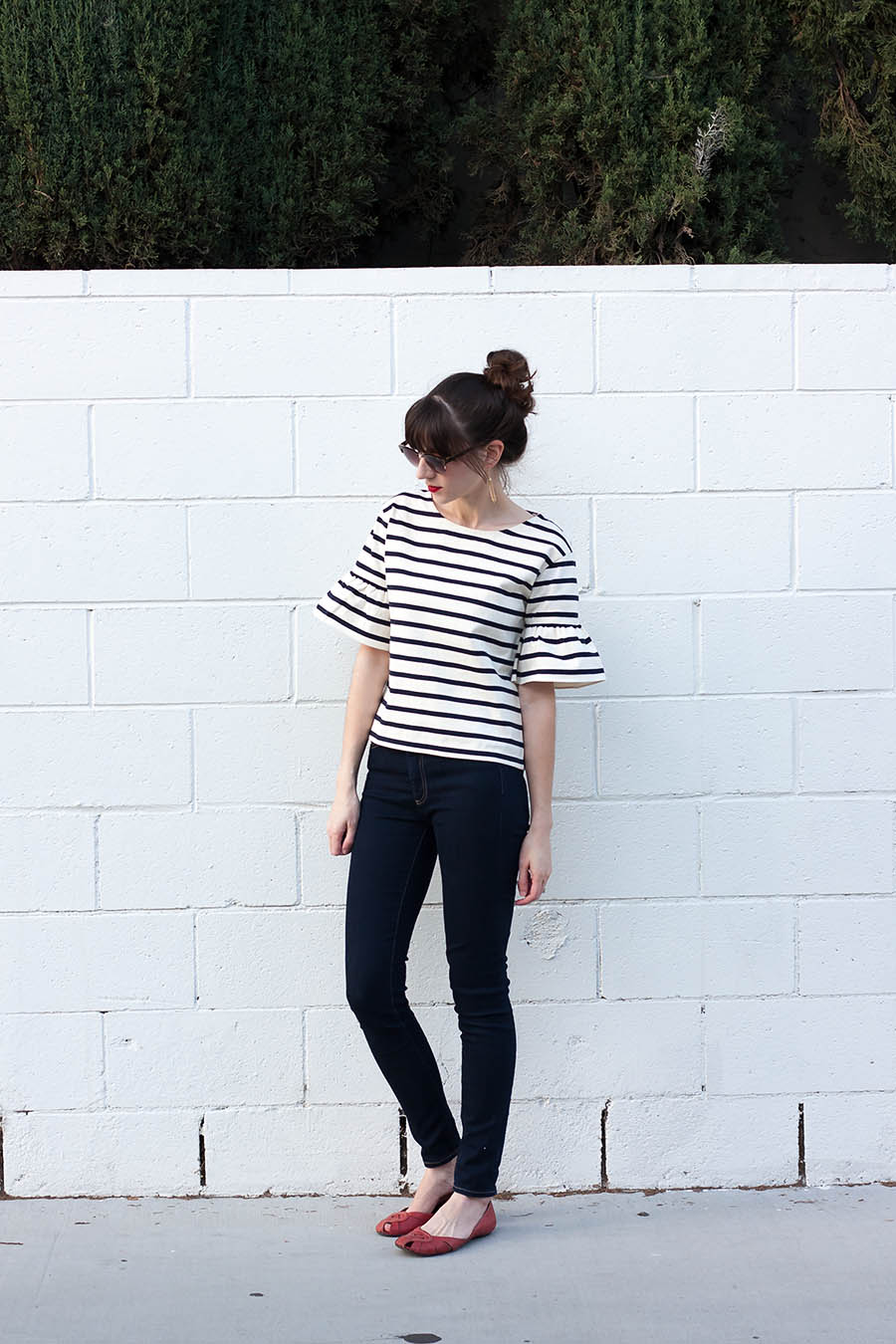 J.Crew Ruffle Top, French inspired Outfit