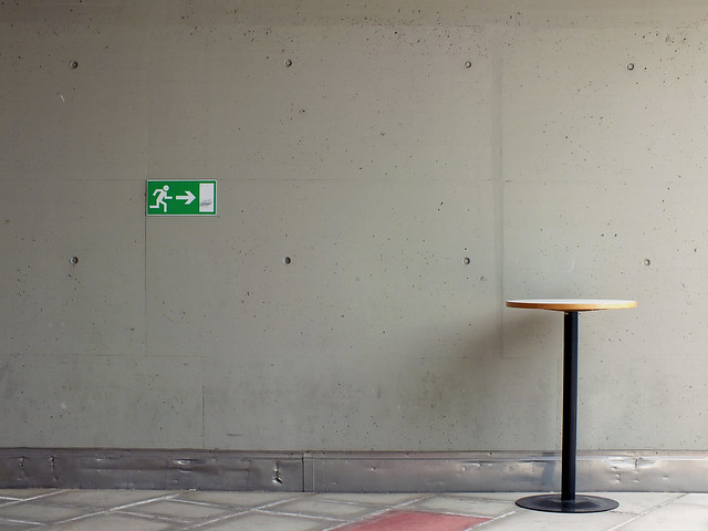 A table in the city