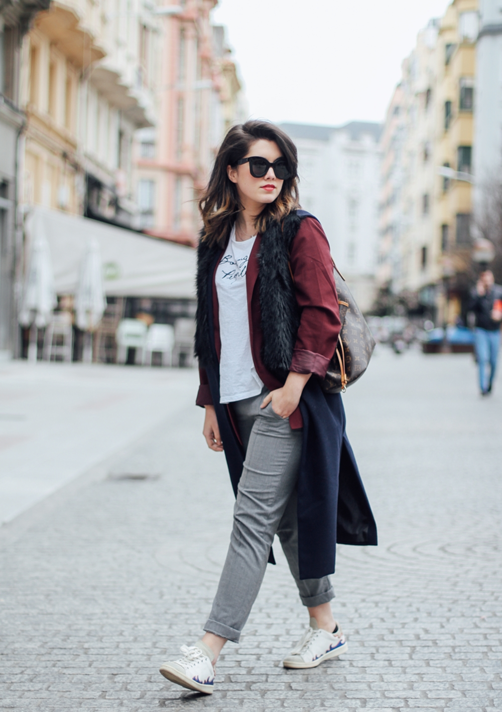 isabel marant sneakers with faux fur vest and red blazer streetstyle baby marta sunglasses celine