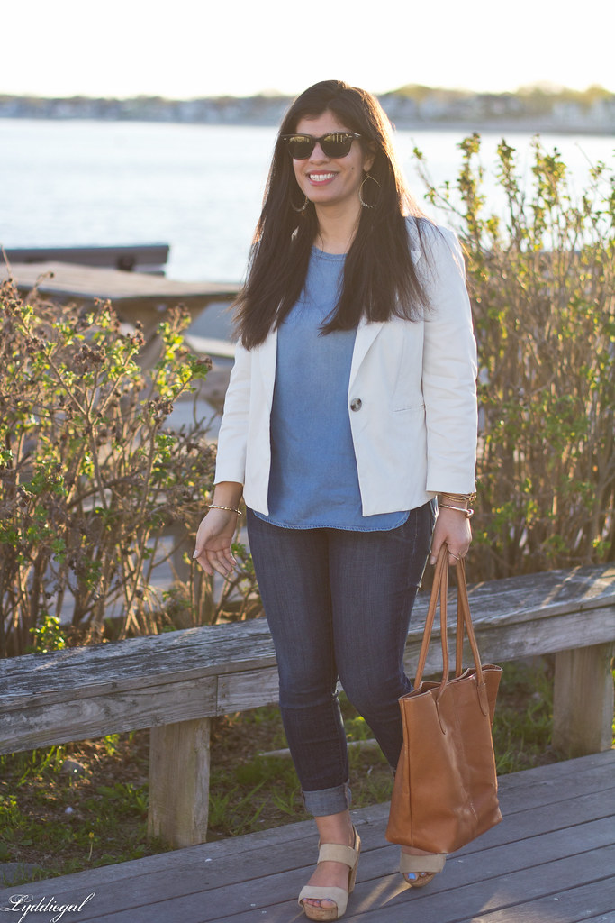 white blazer, chambray shirt, jeans, brown leather tote-1.jpg